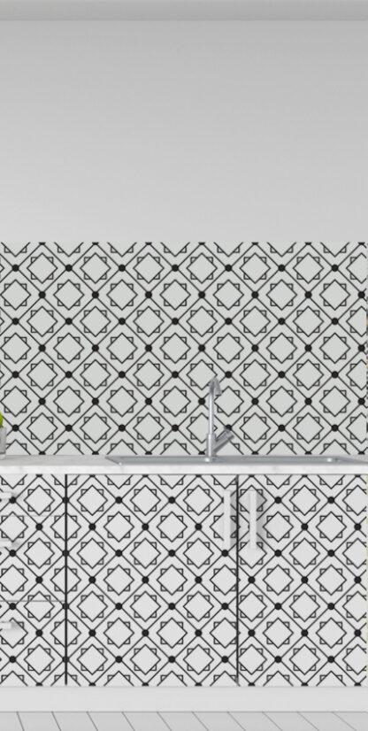 Vinilos cocina azulejos geométricos negros