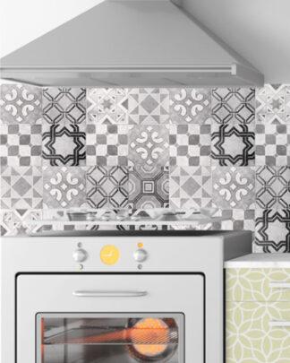 Vinilos cocina azulejos vintage gris verde