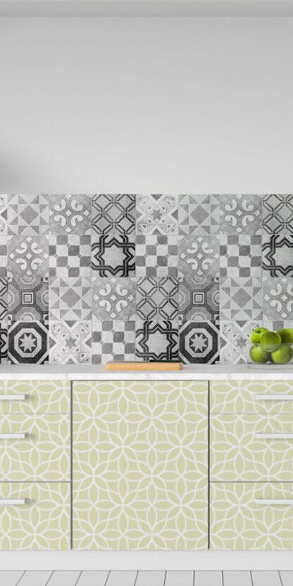 Vinilos cocina azulejos vintage gris
